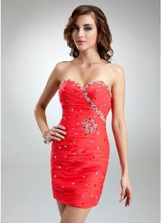 Sheath/Column Sweetheart Short/Mini Chiffon Cocktail Dress With Ruffle Beading