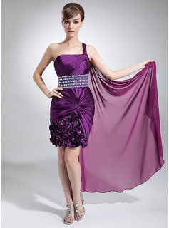 Sheath One-Shoulder Watteau Train Chiffon Charmeuse Prom Dress With Ruffle Beading Flower(s)