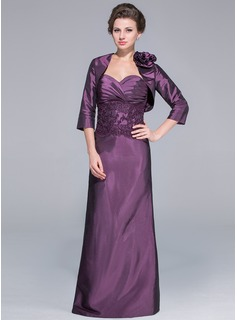 A-Line/Princess Sweetheart Floor-Length Taffeta Mother of the Bride Dress With Lace Beading