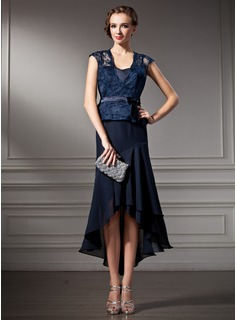 A-Line/Princess Sweetheart Asymmetrical Chiffon Charmeuse Lace Mother of the Bride Dress
