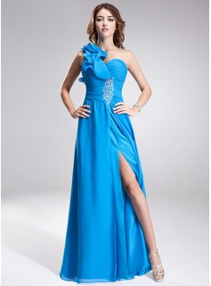 A-Line/Princess One-Shoulder Floor-Length Chiffon Prom Dress With Beading Split Front Cascading Ruffles
