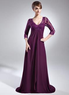 Empire-Linie V-Ausschnitt Sweep/Pinsel zug Chiffon Spitze Kleid für die Brautmutter mit Perlen verziert Pailletten Gestufte Rüschen