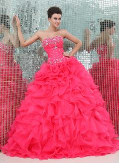 Corte de baile Escote corazón Vestido Organdí Satén Vestido de quinceañera con Bordado Cascada de volantes