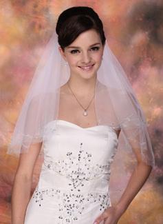 Dwuwarstwowe Opuszki palca ślubne welony Z Cięte Bez Lamówki