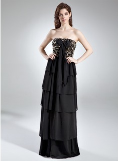 A-Line/Princess Strapless Floor-Length Chiffon Prom Dress With Ruffle Sequins Bow(s)