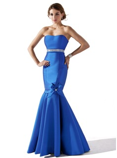 Trumpet/Mermaid Sweetheart Floor-Length Satin Evening Dress With Beading Flower(s) Bow(s)