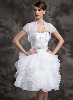 Kısa kollu Organza Düğün Ceketler/Şallar