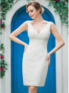 Sheath/Column V-neck Knee-Length Lace Wedding Dress With Beading
