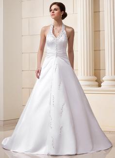 Forme Princesse Dos nu Traîne mi-longue Satiné Robe de mariée avec Plissé Emperler Sequins
