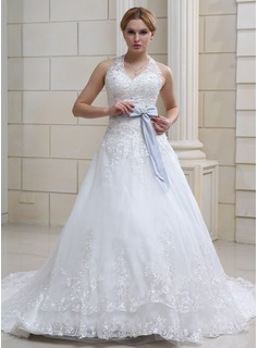 Ball-Gown Halter Chapel Train Organza Satin Wedding Dress With Lace Sashes Crystal Brooch