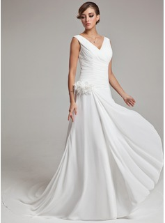 A-Line/Princess V-neck Chapel Train Chiffon Wedding Dress With Feather Flower(s) Cascading Ruffles