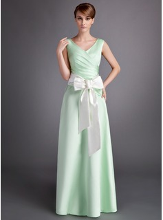 A-Line/Princess V-neck Floor-Length Satin Bridesmaid Dress With Ruffle Sash Bow(s)