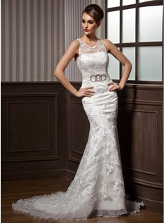 Trumpet/Mermaid Scoop Neck Court Train Satin Organza Lace Wedding Dress With Ruffle Beading Bow(s)