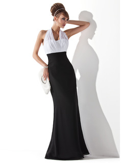 Empire Halter Floor-Length Chiffon Evening Dress With Ruffle