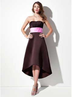 Empire Sweetheart Asymmetrical Satin Bridesmaid Dress With Ruffle Sash