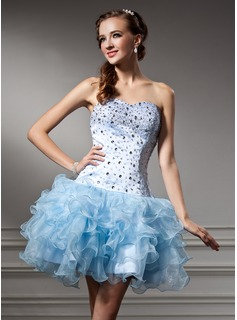 A-Line/Princess Sweetheart Short/Mini Organza Satin Homecoming Dress With Beading Cascading Ruffles