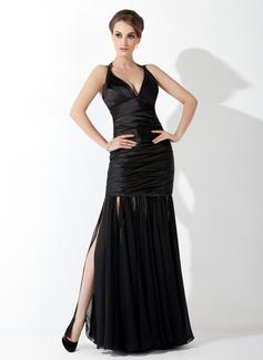 Trumpet/Mermaid Halter Floor-Length Chiffon Charmeuse Evening Dress With Ruffle