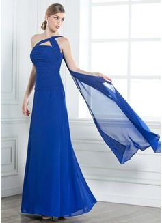 A-لاين أميرة بكتف واحد الطول الأرضي Chiffon فستان سهرة مع كشكش مطرز بالخرز