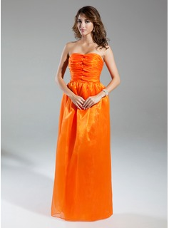 A-Line/Princess Sweetheart Floor-Length Organza Prom Dress With Ruffle