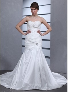 Trumpet/Mermaid Sweetheart Cathedral Train Taffeta Wedding Dress With Ruffle