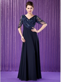 A-Line/Princess V-neck Floor-Length Chiffon Tulle Mother of the Bride Dress With Ruffle Beading Sequins