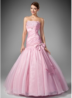 Mermaid Strapless Floor-Length Taffeta Organza Prom Dress With Ruffle Beading Sequins