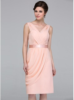 Sheath/Column V-neck Knee-Length Chiffon Charmeuse Bridesmaid Dress With Ruffle