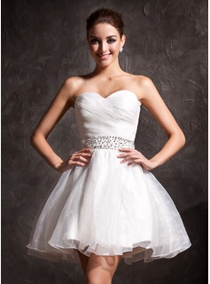 A-Line/Princess Sweetheart Short/Mini Organza Wedding Dress With Ruffle Beadwork Sequins (002011383)