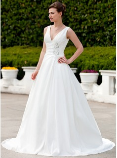 A-Line/Princess V-neck Court Train Taffeta Wedding Dress With Ruffle Beading