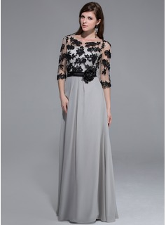 A-Line/Princess Scoop Neck Floor-Length Chiffon Evening Dress With Appliques Lace Flower(s)