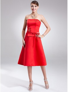 A-Line/Princess Strapless Knee-Length Satin Bridesmaid Dress With Sash Beading Bow(s)
