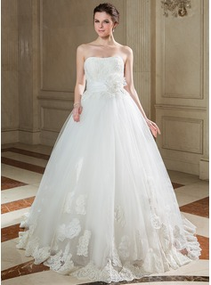 Ball-Gown Sweetheart Sweep Train Taffeta Tulle Wedding Dress With Ruffle Lace Beadwork Sequins