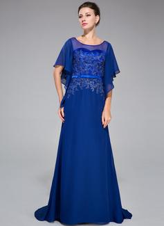 Trompete/Meerjungfrau-Linie U-Ausschnitt Sweep/Pinsel zug Chiffon Charmeuse Abendkleid mit Spitze Perlen verziert Pailletten