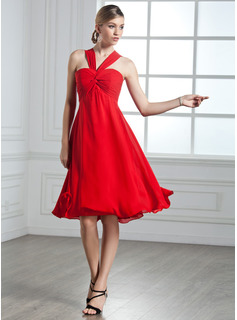 Empire V-neck Knee-Length Chiffon Cocktail Dress With Ruffle (016002435)