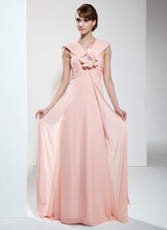 Imperialna Dekolt w Serek Tren Dotykający ziemi Chiffon Suknia dla Mamy Panny Młodej Z Żabot Kwiat(y)