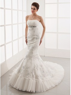 Mermaid Sweetheart Chapel Train Satin Tulle Wedding Dress With Ruffle Lace Beadwork