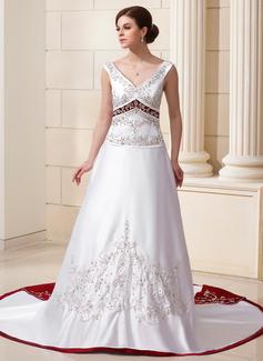 Corte A/Princesa Escote en V Cola capilla Satén Vestido de novia con Bordado Lentejuelas