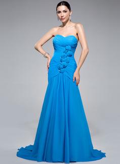 Trompete/Meerjungfrau-Linie Herzausschnitt Sweep/Pinsel zug Chiffon Abendkleid mit Rüschen Perlen verziert Blumen