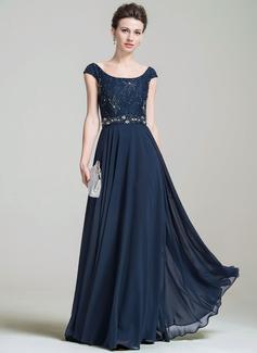 A-Linie/Princess-Linie U-Ausschnitt Bodenlang Chiffon Lace Kleid für die Brautmutter mit Perlen verziert Pailletten