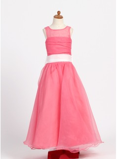A-Line/Princess Scoop Neck Floor-Length Taffeta Organza Flower Girl Dress With Ruffle Sash Bow(s)
