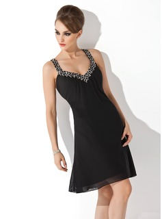 A-Line/Princess V-neck Knee-Length Chiffon Cocktail Dress With Ruffle Beading Sequins