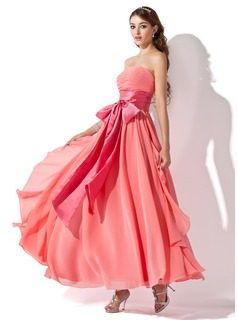 Empire Strapless Ankle-Length Chiffon Charmeuse Prom Dress With Ruffle Sash