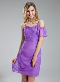 Wąska Kochanie Krótka/Mini Chiffon Suknia dla Druhny
