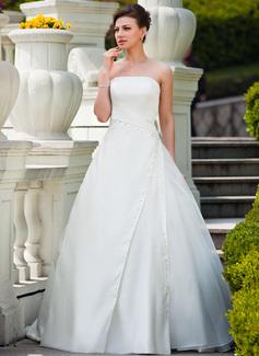 Balklänning Axelbandslös Court släp Satäng Organzapåse Bröllopsklänning med Rufsar Pärlbrodering Paljetter