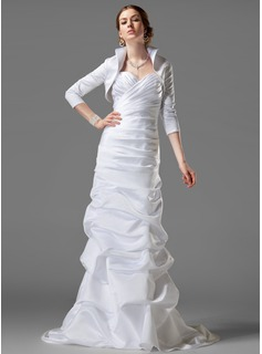 Sheath/Column Sweetheart Court Train Satin Wedding Dress With Ruffle