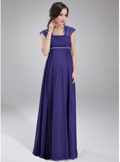 Empire Square Neckline Floor-Length Chiffon Chiffon Maternity Bridesmaid Dress With Ruffle Lace Beading
