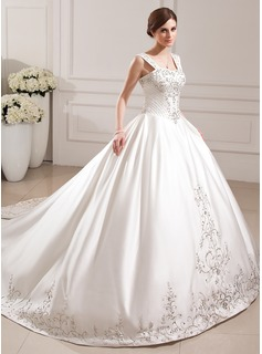 Ball-Gown Sweetheart Cathedral Train Satin Wedding Dress With Embroidery Beading Sequins