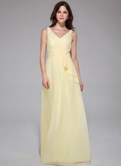 A-Linie/Princess-Linie V-Ausschnitt Bodenlang Chiffon Abendkleid mit Rüschen