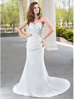 Mermaid Sweetheart Court Train Satin Wedding Dress With Ruffle Beadwork