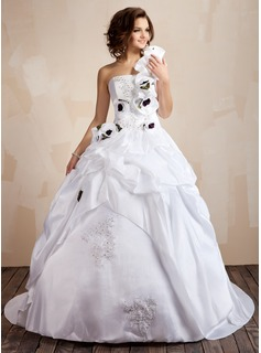 Ball-Gown One-Shoulder Court Train Taffeta Wedding Dress With Beading Appliques Lace Flower(s) Sequins Cascading Ruffles